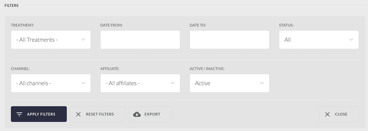 Set your DenGro filters for viewing and exporting leads