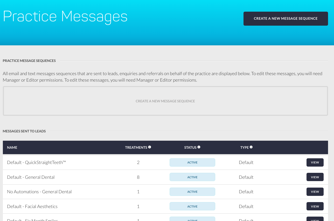 Practice Messages - Create a New Sequence